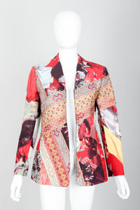 Vintage Moschino Tapestry Collage India Jacket on Mannequin open at Recess Los Angeles