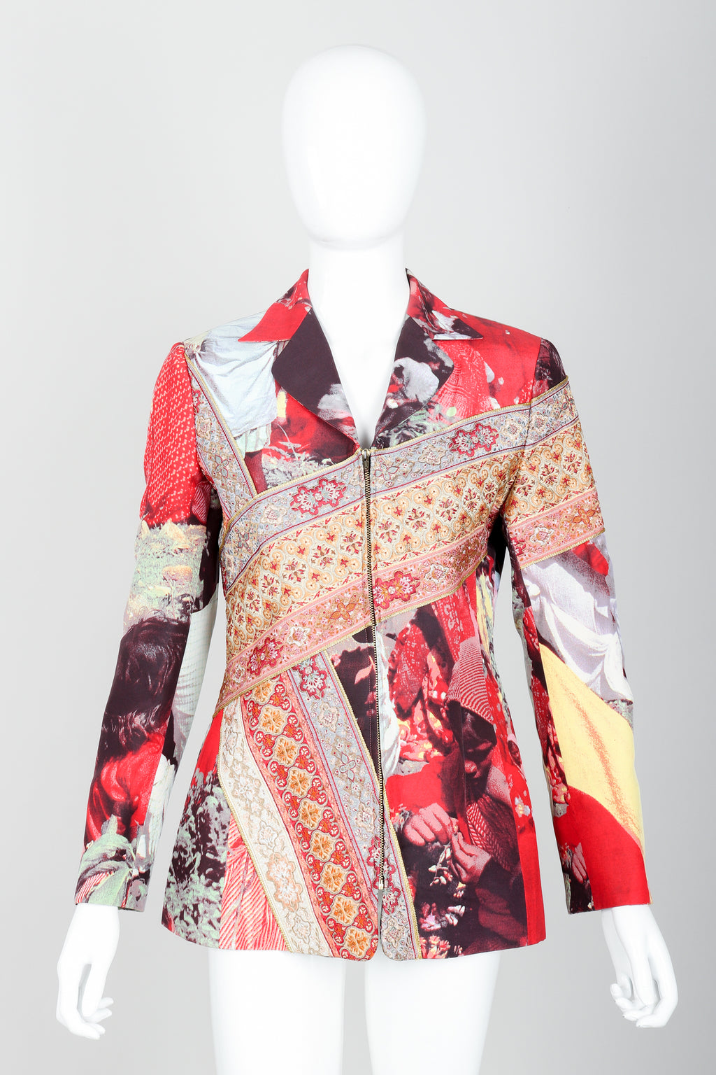 Vintage Moschino Tapestry Collage India Jacket on Mannequin front at Recess Los Angeles