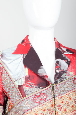 Vintage Moschino Tapestry Collage India Jacket on Mannequin collar at Recess Los Angeles