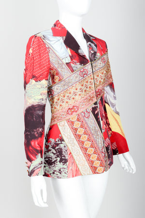 Vintage Moschino Tapestry Collage India Jacket on Mannequin angled at Recess Los Angeles