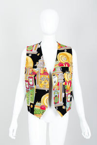 Vintage Moschino Twill Vegas Slots Vest on mannequin open at Recess Los Angeles