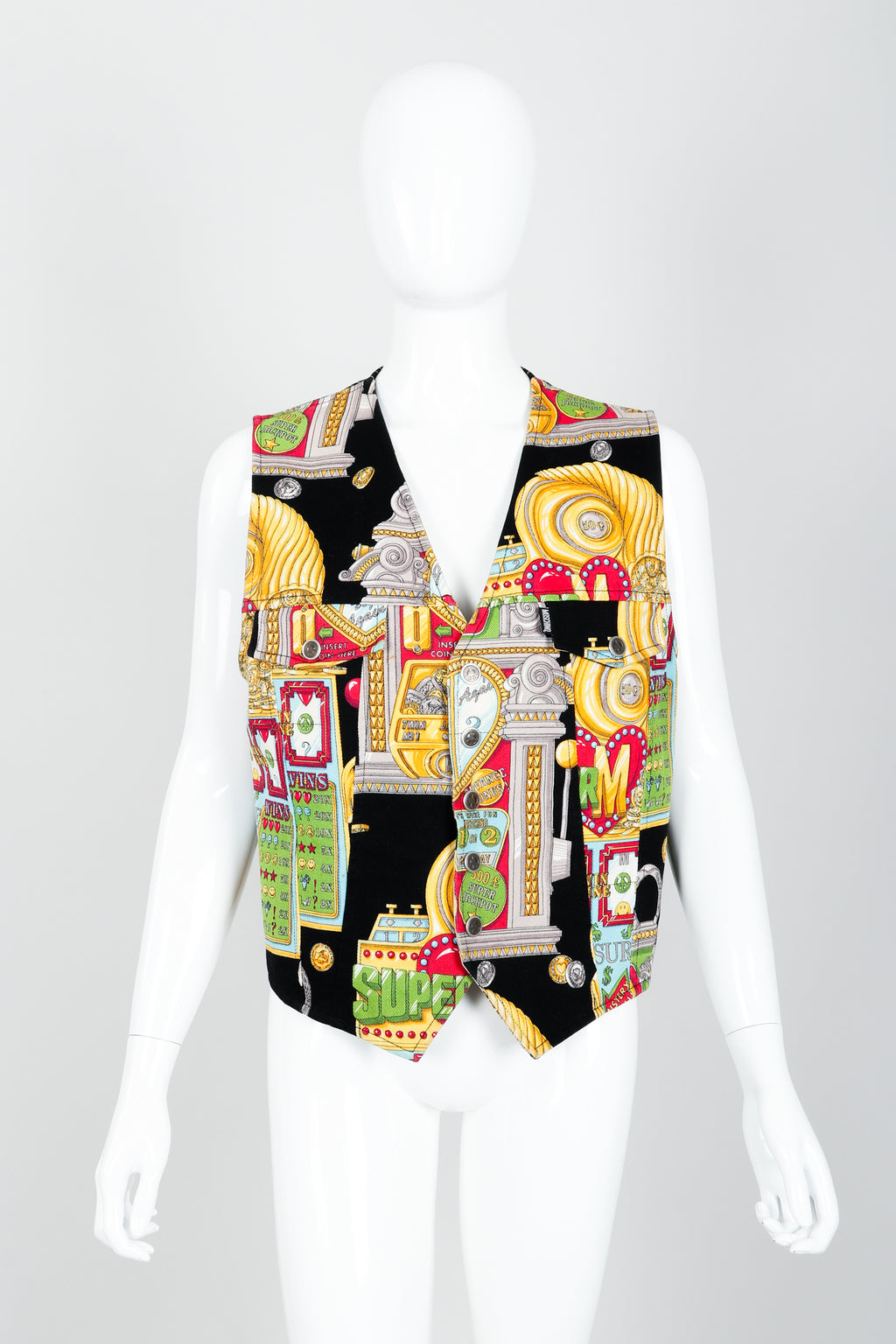 Vintage Moschino Twill Vegas Slots Vest on mannequin front at Recess Los Angeles