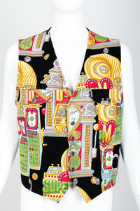 Vintage Moschino Twill Vegas Slots Vest on mannequin front crop at Recess Los Angeles