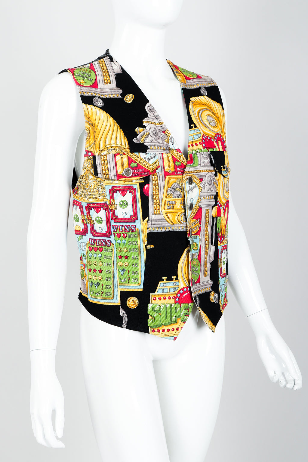 Vintage Moschino Twill Vegas Slots Vest on mannequin crop at Recess Los Angeles
