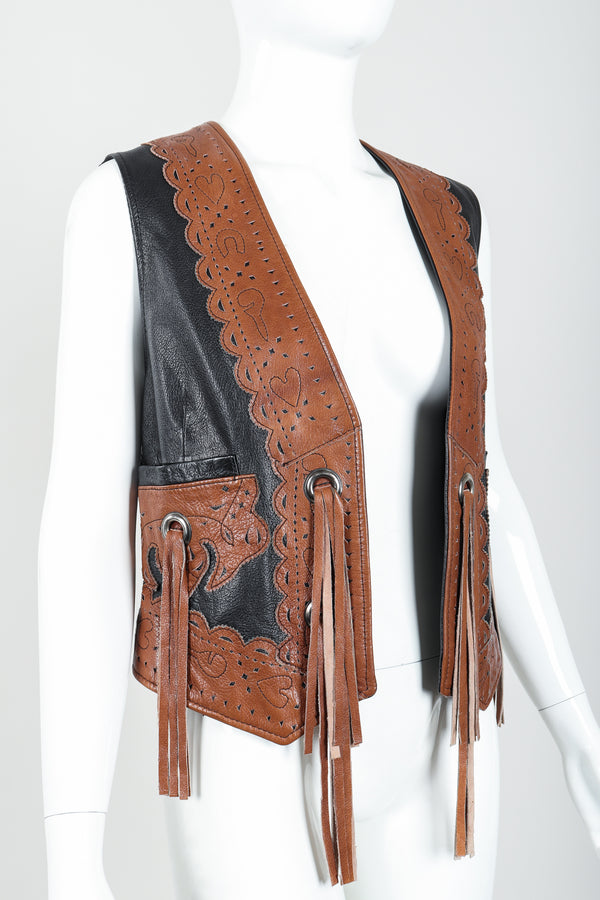 Vintage Moschino Leather Tassel Vest on Mannequin Angle Crop at Recess Los Angeles