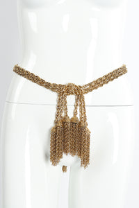 Vintage Moschino Gold Tassel Chain Belt Necklace on Mannequin at Recess Los Angeles