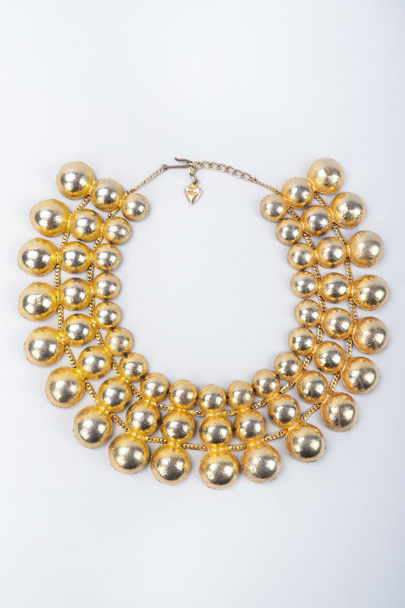Recess Vintage Mosell Gold Foiled Dome Collar Necklace on Grey Background