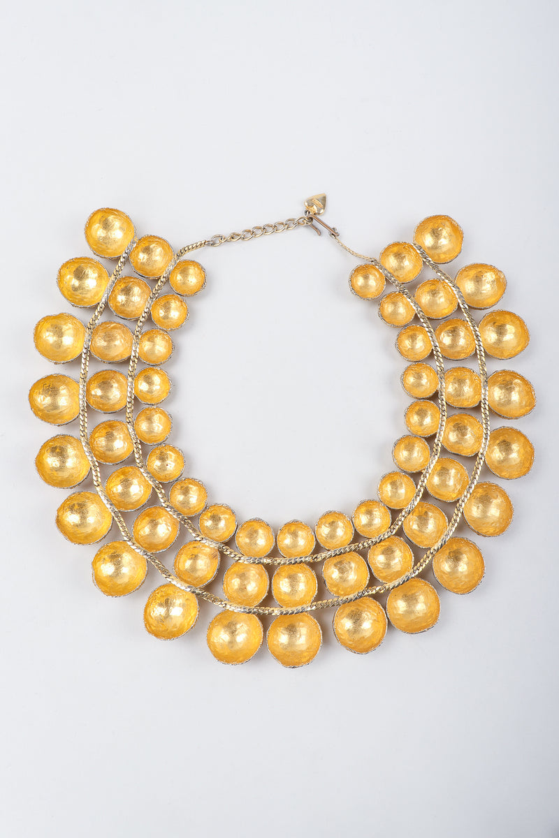 Recess Vintage Mosell Gold Foiled Dome Collar Necklace, backside on Grey Background