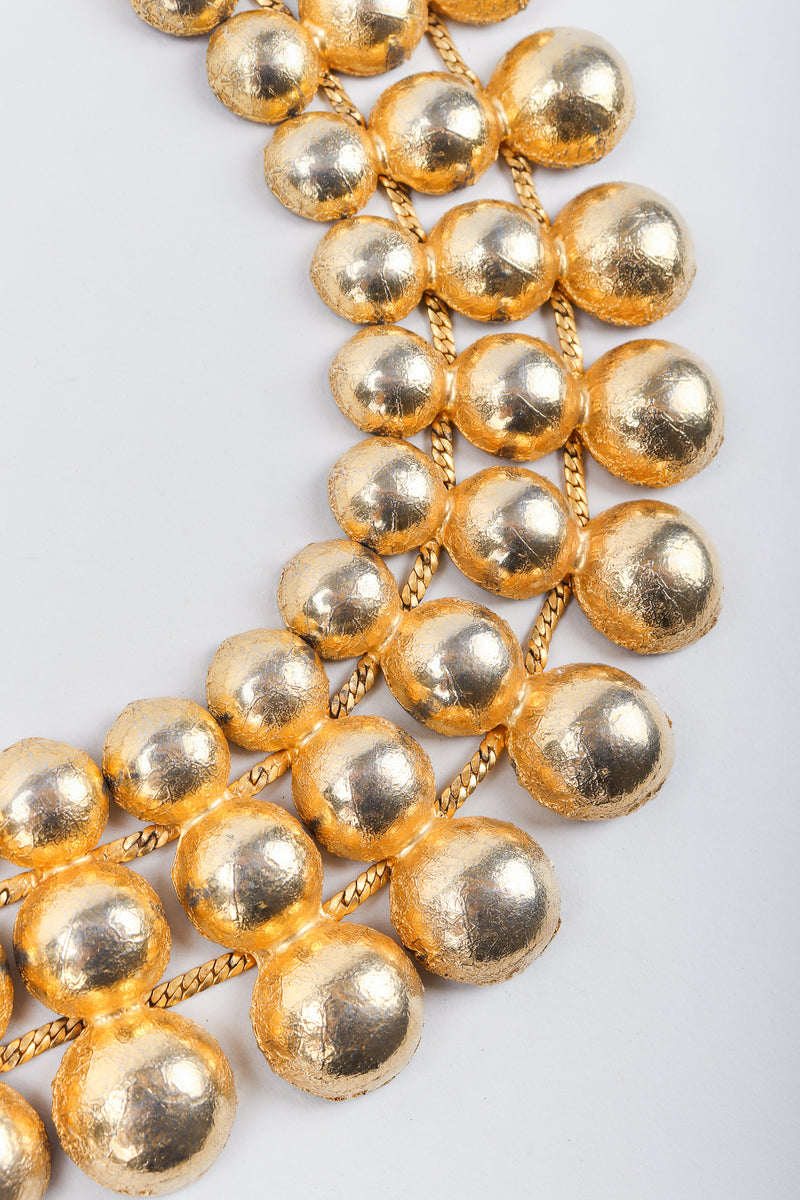 Recess Vintage Mosell Gold Foiled Dome Collar Necklace, detail on Grey Background