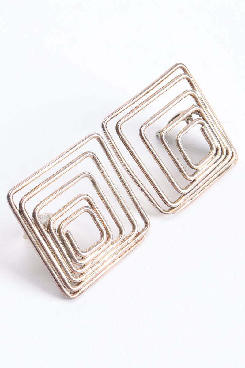 Vintage Moulage Modele Modernist Sterling Silver Square Earrings at Recess Los Angeles