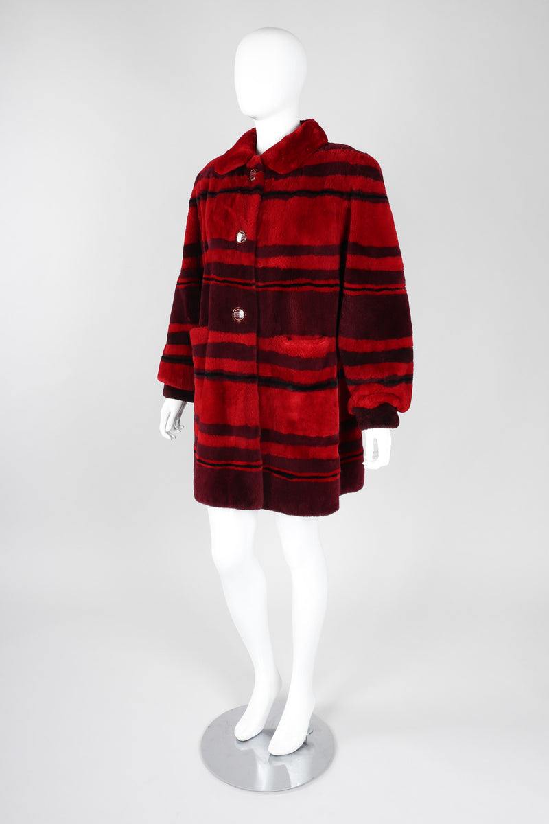 Recess Los Angeles Vintage Mouratidis Bayou Nutria Striped Fur Coat