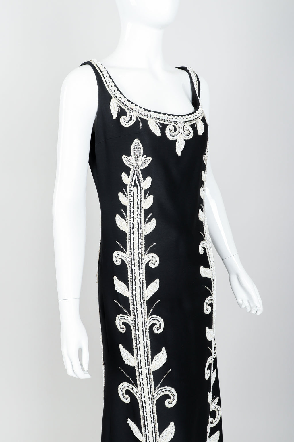 Vintage Mr. Blackwell Rhinestone & Bead Evening Gown Angle at Recess LA