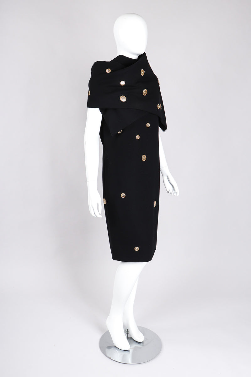 Recess Los Angeles Vintage Mr. Blackwell Gold Applique Shift Dress & Shawl Set