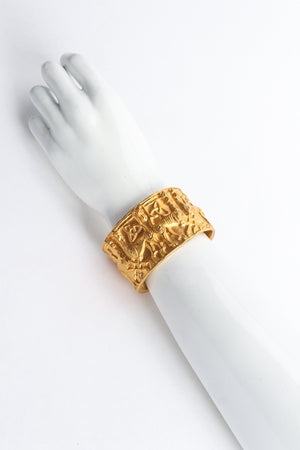 Vintage Metropolitan Museum of Art 1977 NMD Gold Xolo Dog Cuff Bracelet on arm at Recess LA