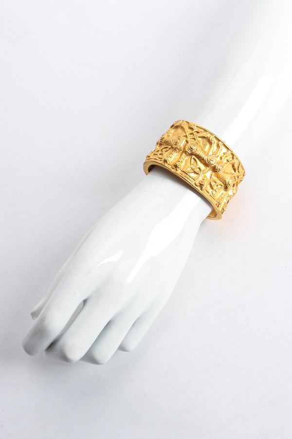 Vintage Metropolitan Museum of Art 1977 NMD Gold Xolo Dog Cuff Bracelet on arm at Recess Los Angeles