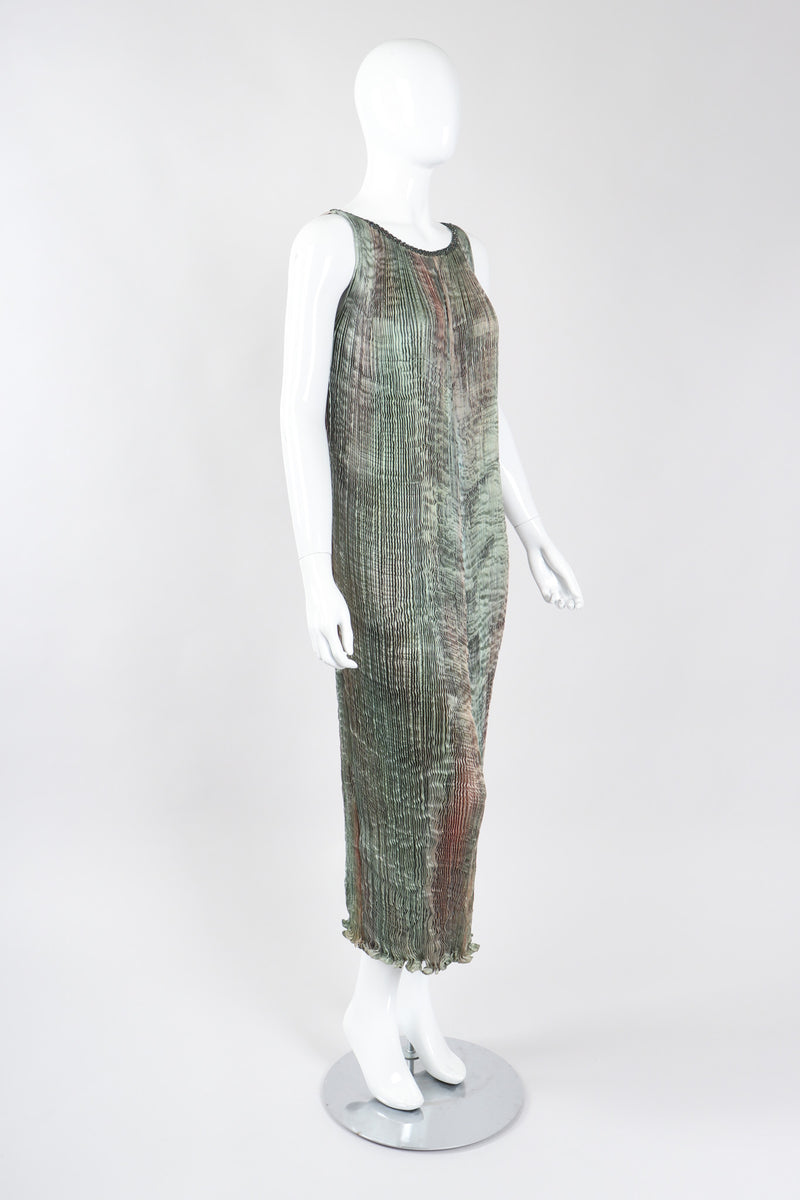 Recess Los Angeles Vintage Patricia Lester Ocean Seagrass Pleated Silk Dress