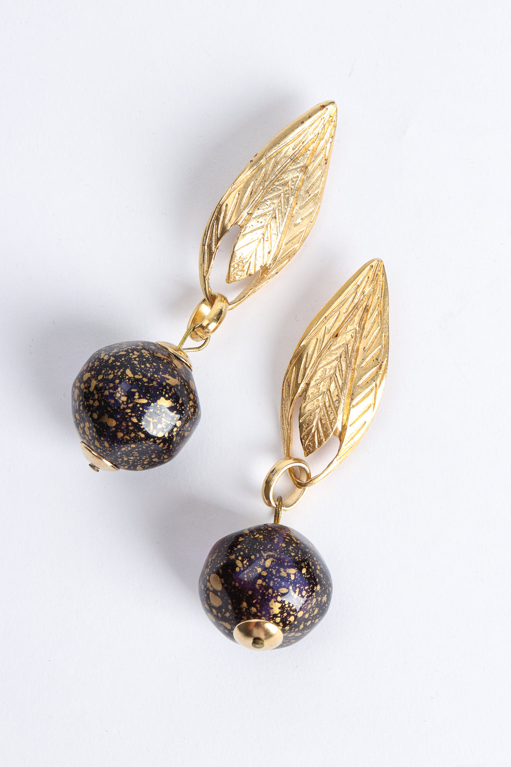 Vintage Leaf Golden Glass Bead Ball Drop Earrings at Recess Los Angeles