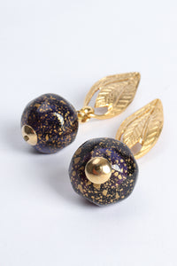 Vintage Leaf Glass Bead Ball Drop Earrings at Recess Los Angeles