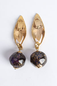 Vintage Leaf Glass Bead Ball Drop Earrings Backside at Recess Los Angeles