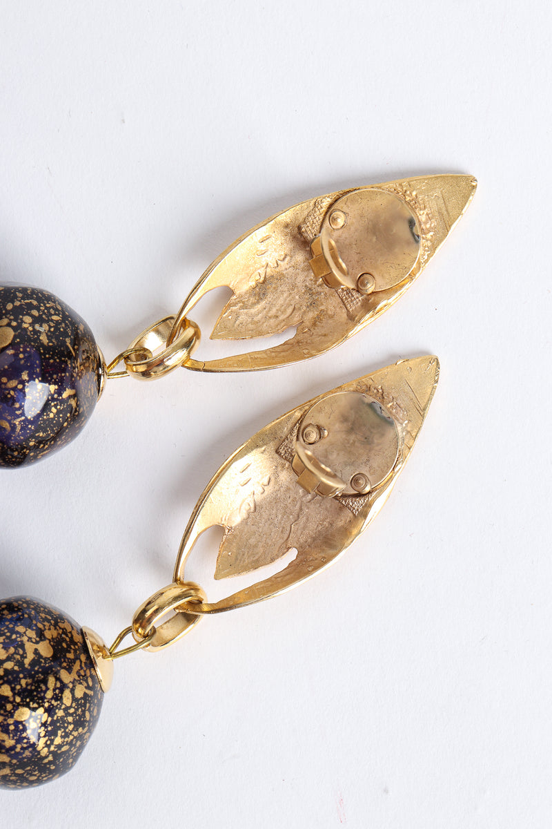 Vintage Leaf Glass Bead Ball Drop Earrings clip backs at Recess Los Angeles