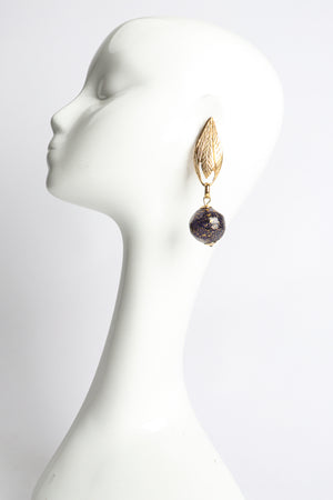 Vintage Leaf Glass Bead Ball Drop Earrings on Mannequin at Recess Los Angeles