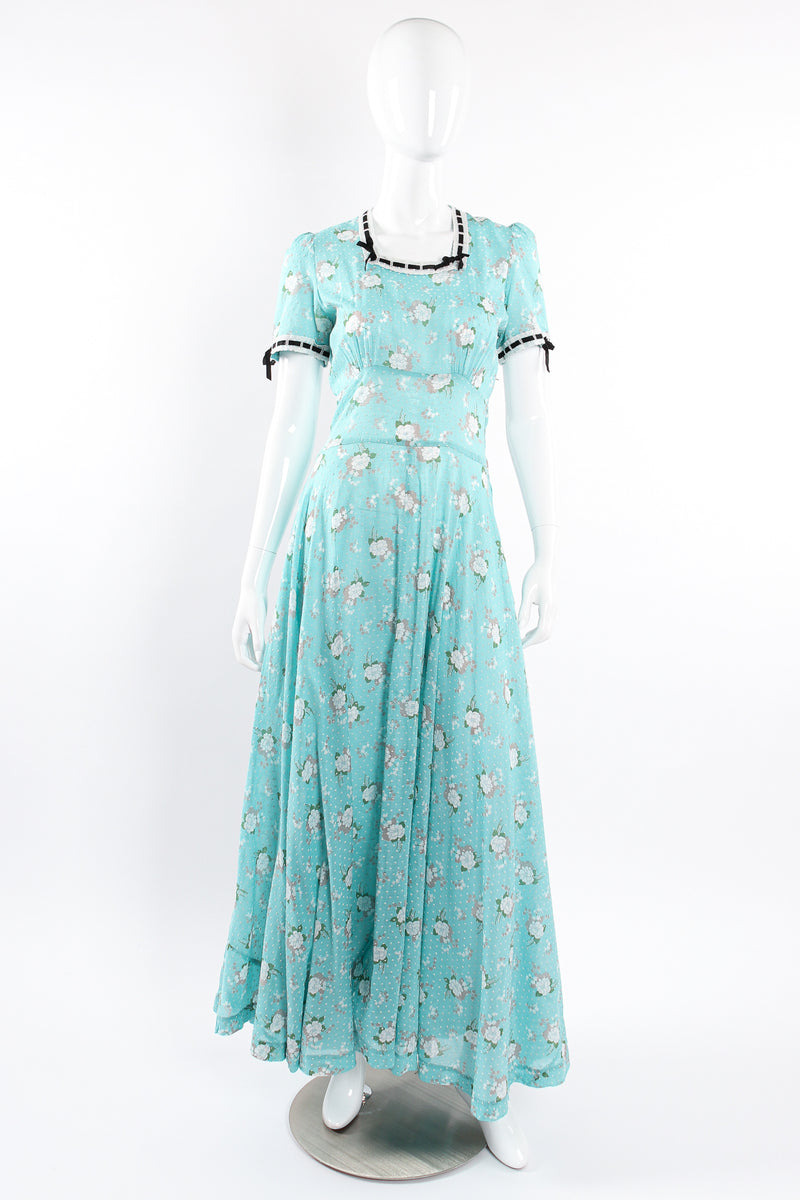 Vintage Cotton Floral Swiss Dot Maxi Dress on Mannequin front at Recess Los Angeles