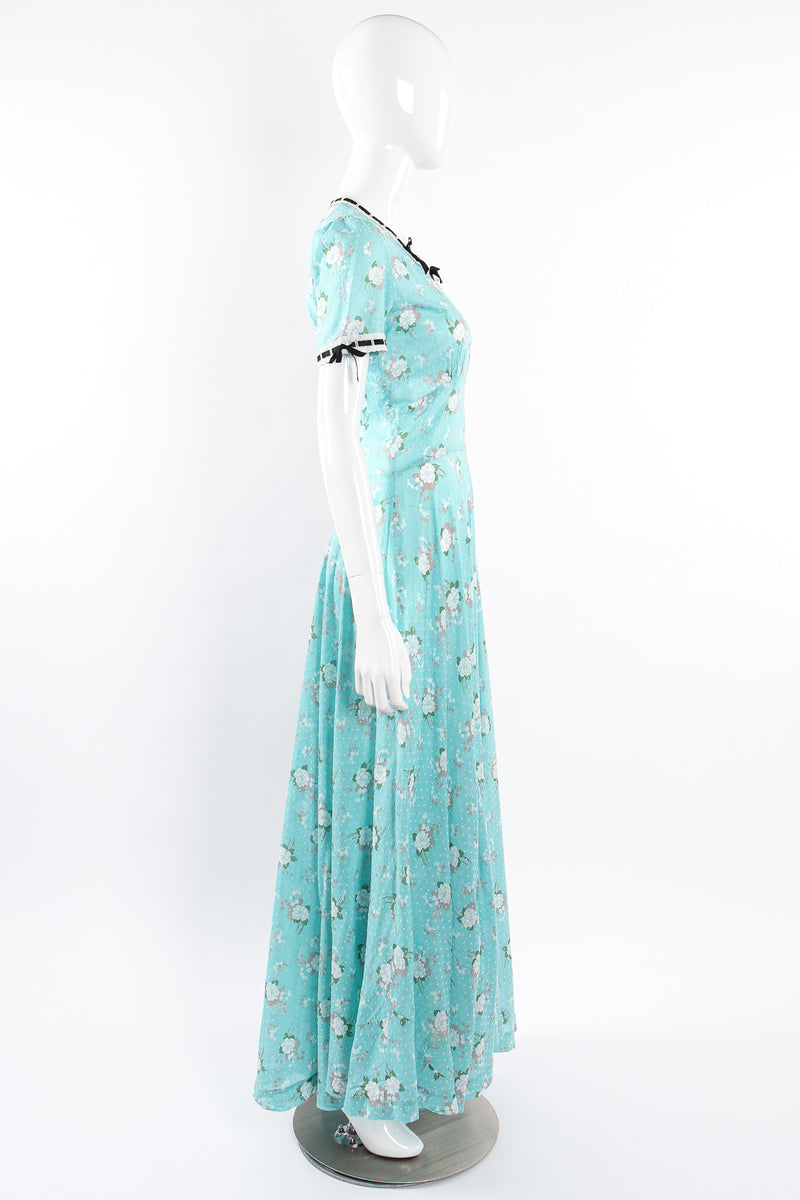 Vintage Cotton Floral Swiss Dot Maxi Dress on Mannequin side at Recess Los Angeles