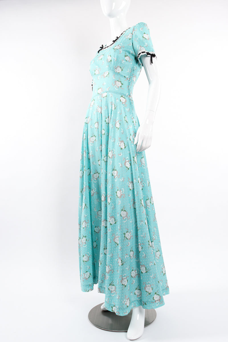 Vintage Cotton Floral Swiss Dot Maxi Dress on Mannequin angle at Recess Los Angeles