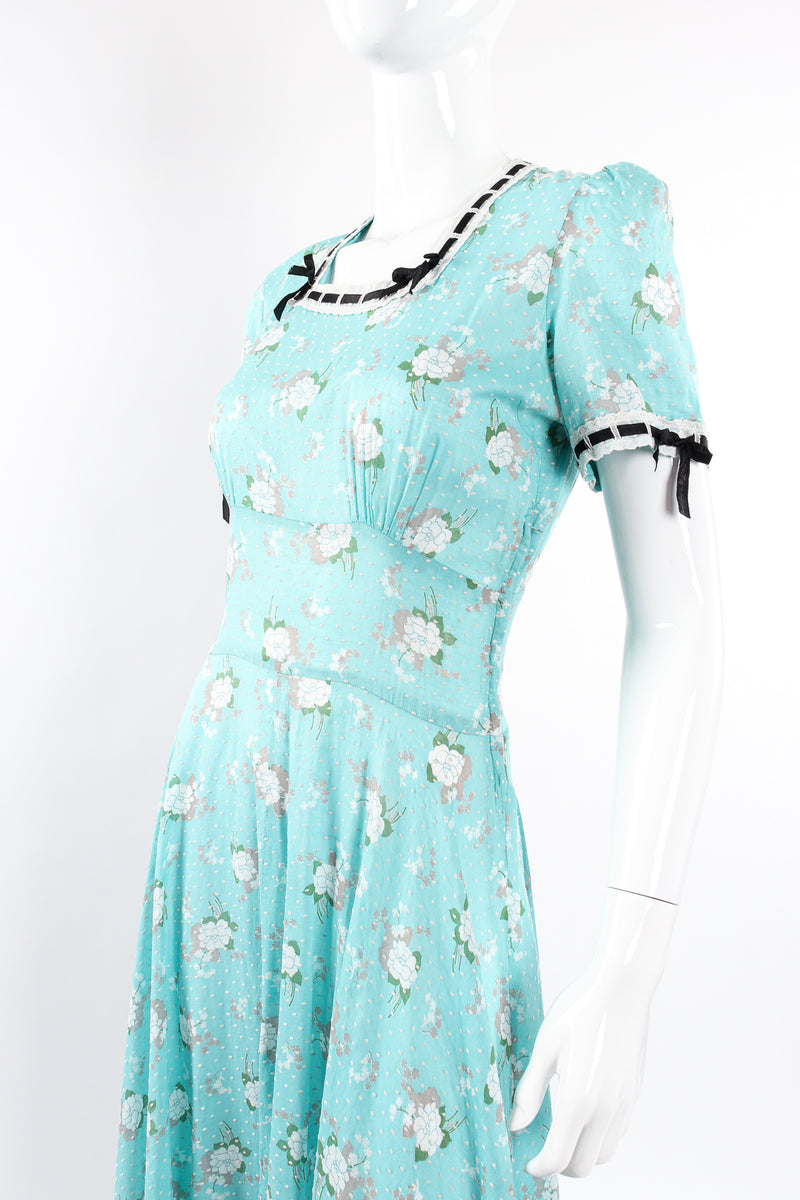 Vintage Cotton Floral Swiss Dot Maxi Dress on Mannequin angle crop at Recess Los Angeles