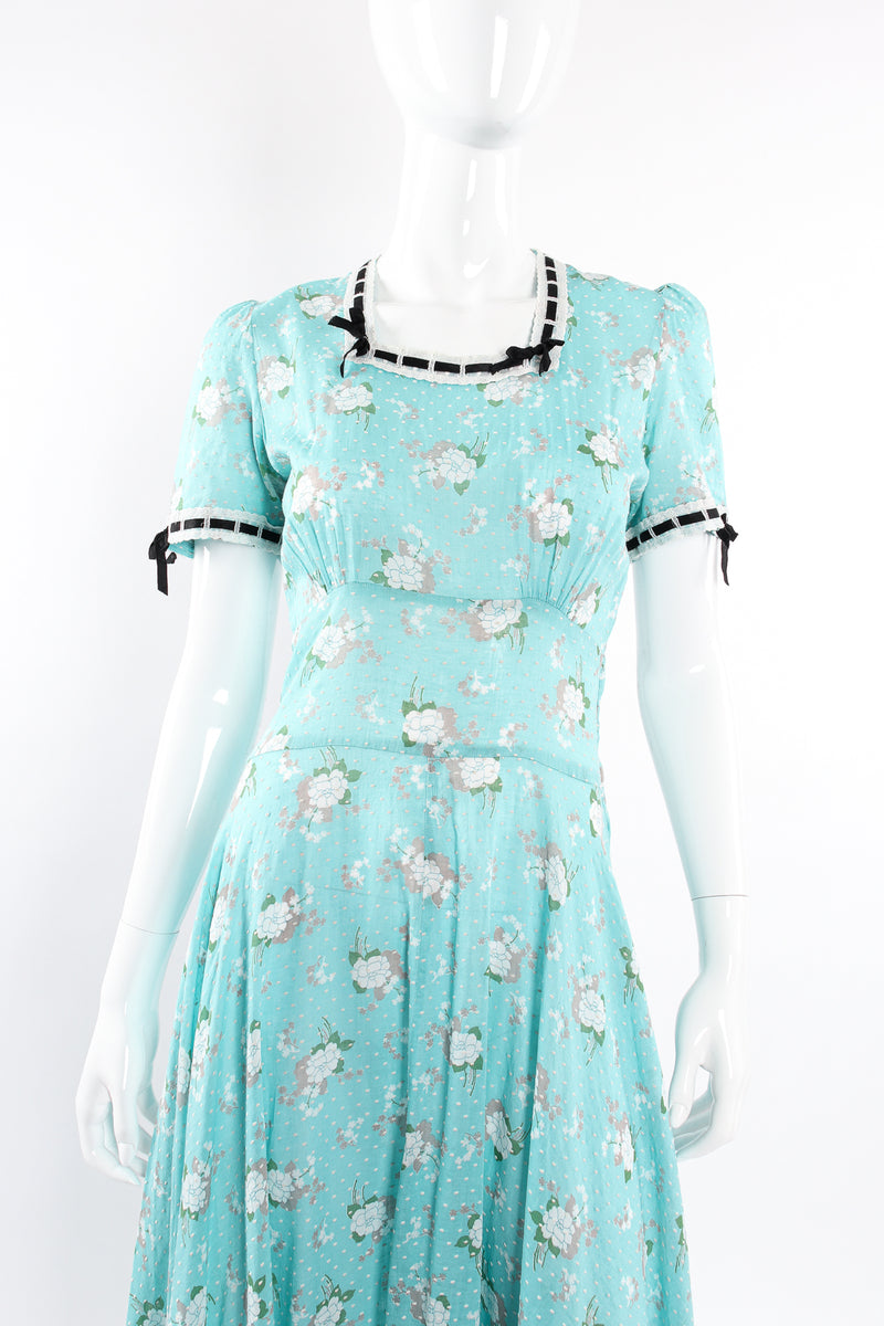 Vintage Cotton Floral Swiss Dot Maxi Dress on Mannequin front crop at Recess Los Angeles