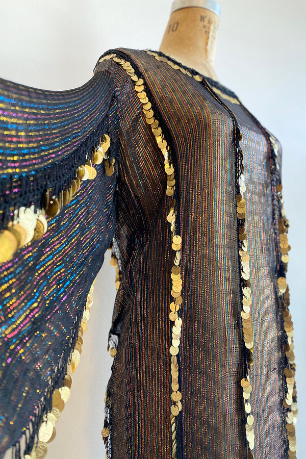 Vintage Sheer Metallic Coin Fringe Dress on Dressform Crop at Recess Los Angeles