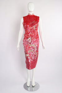 Vintage Sequined Cheongsam Sheath Dress on Mannequin Front at Recess Los Angeles