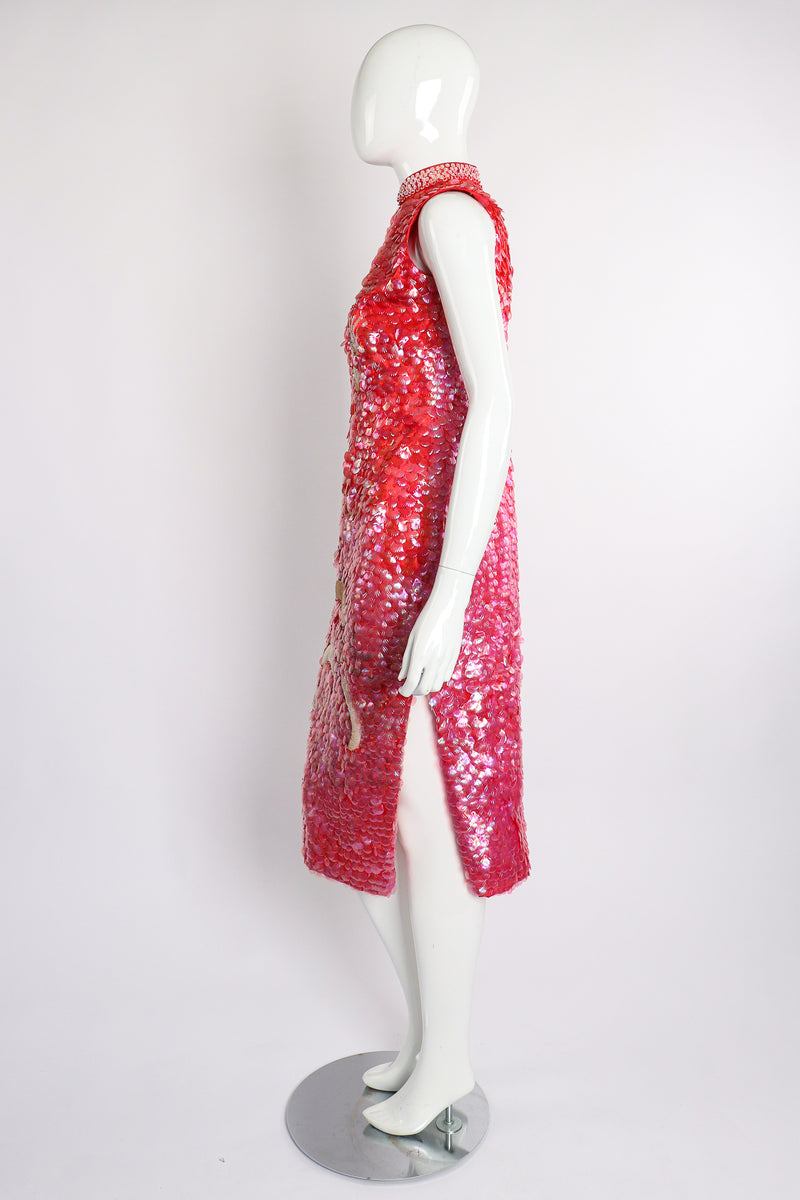 Vintage Sequined Cheongsam Sheath Dress on Mannequin Side at Recess Los Angeles