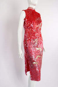 Vintage Sequined Cheongsam Sheath Dress on Mannequin Angle Crop at Recess Los Angeles