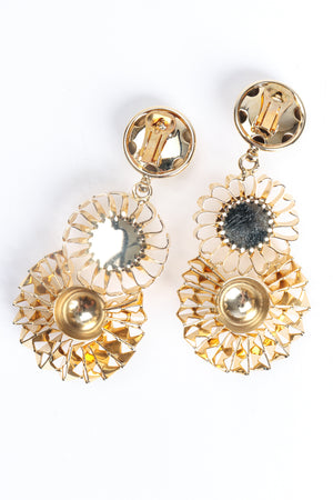 Vintage Gold Flower Pom Pom Drop Earrings Backside at Recess Los Angeles
