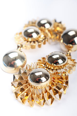 Vintage Gold Flower Pom Pom Drop Earrings Detail at Recess Los Angeles