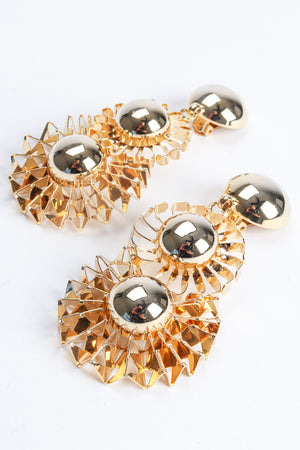 Vintage Gold Flower Pom Pom Drop Earrings at Recess Los Angeles