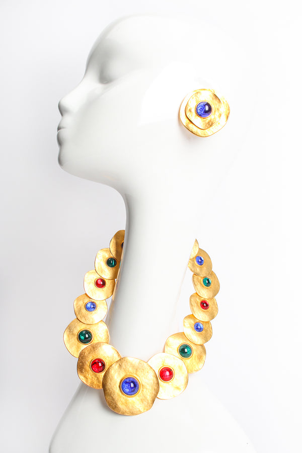 Vintage Modernist Disc Collar Necklace & Earring Set on mannequin at Recess Los Angeles