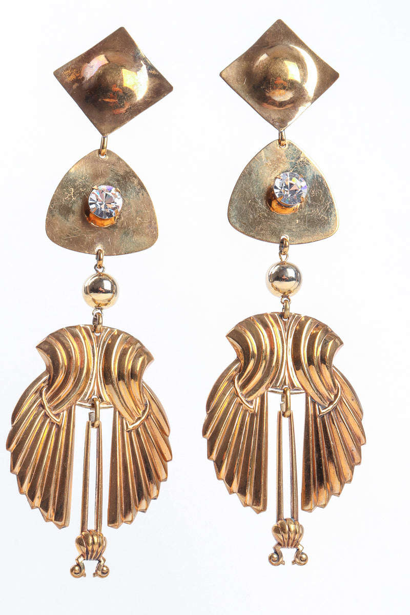 Vintage Fluted Wing Drop Earrings at Recess Los Angeles