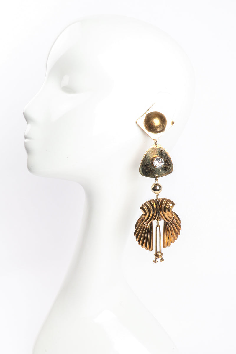 Vintage Fluted Wing Drop Earrings on Mannequin at Recess Los Angeles