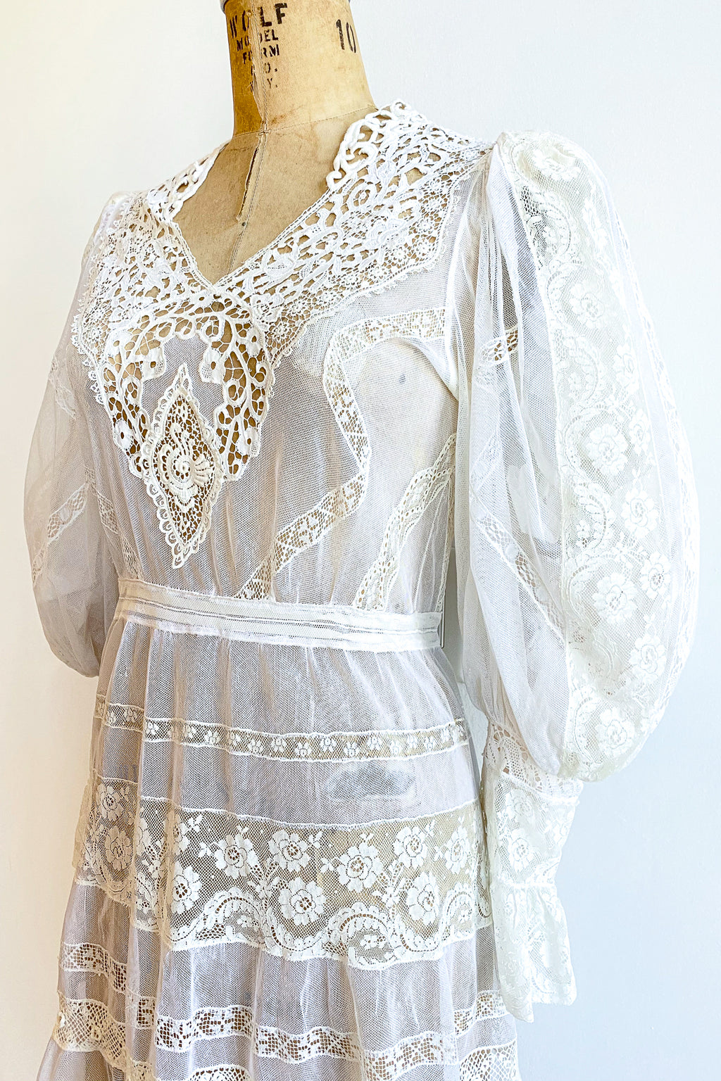 Vintage 1930s Sheer Lace Balloon Sleeve Dress Wedding Bridal on Dressform Angle Crop at Recess LA