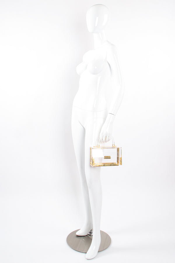 Vintage Lucite Flap Box Bag on mannequin at Recess Los Angeles