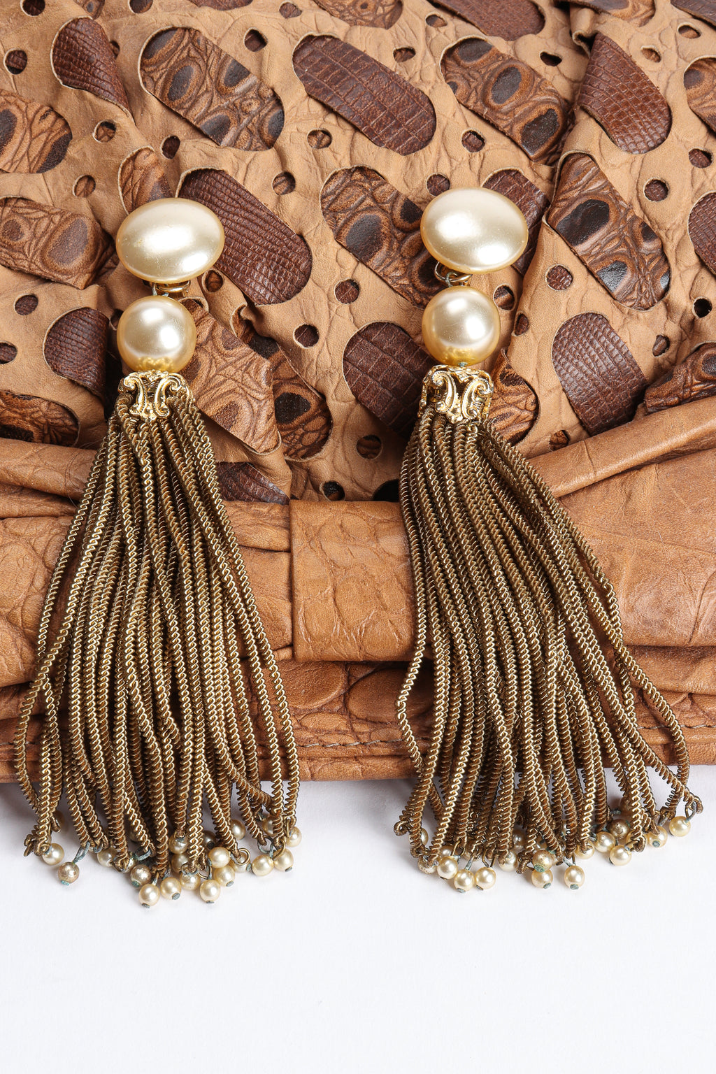 Vintage Pearl Chain Tassel Earrings on leather at Recess Los Angeles