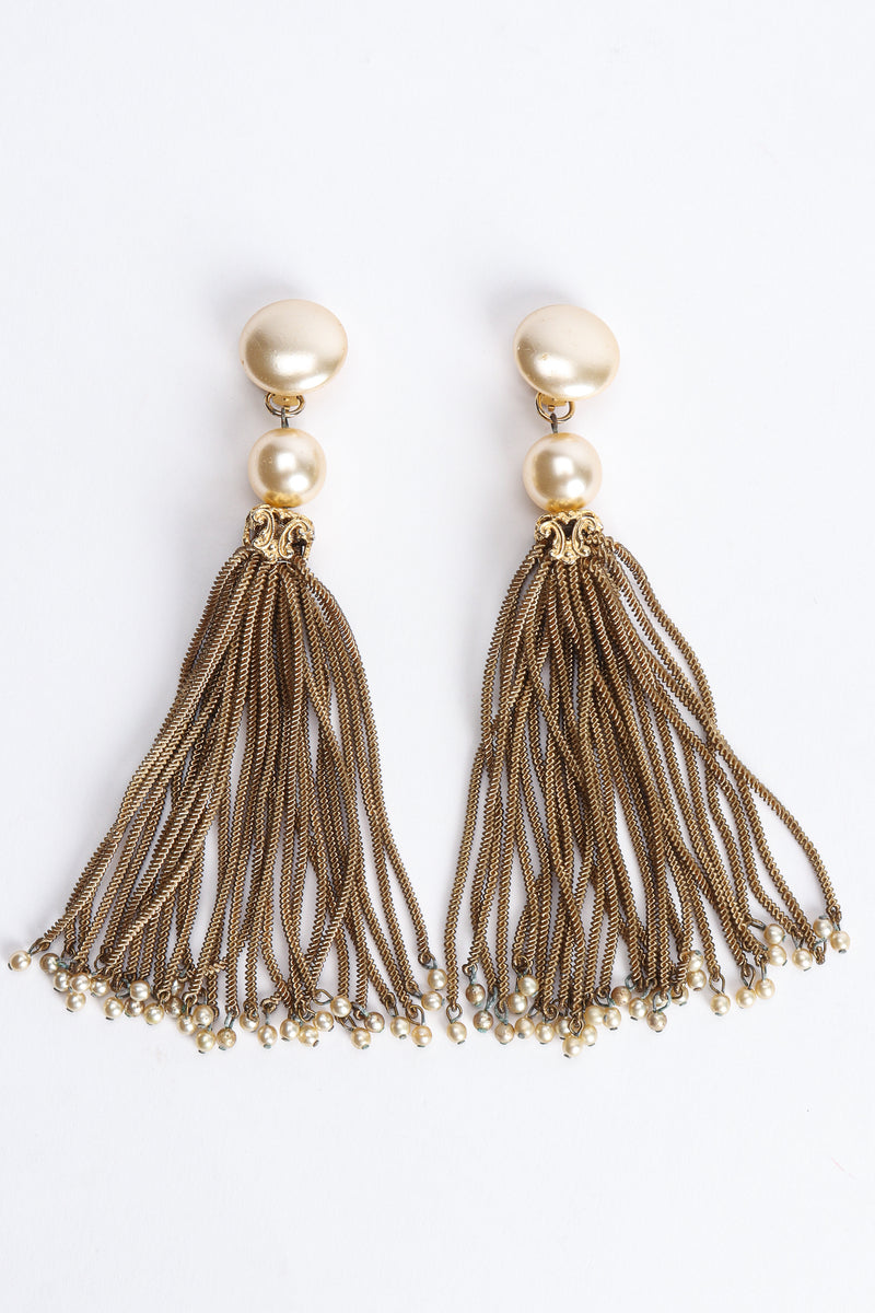 Vintage Pearl Chain Tassel Earrings at Recess Los Angeles
