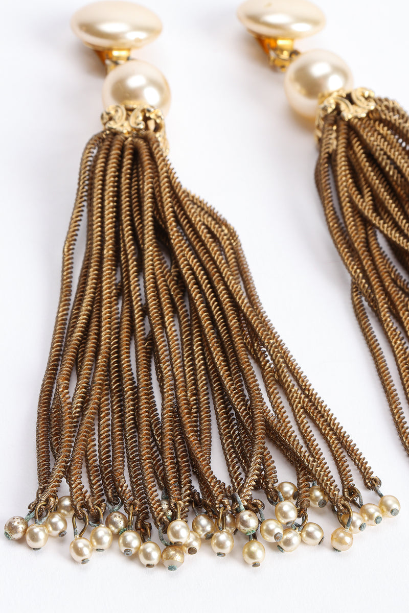 Vintage Pearl Chain Tassel Earrings chain detail at Recess Los Angeles