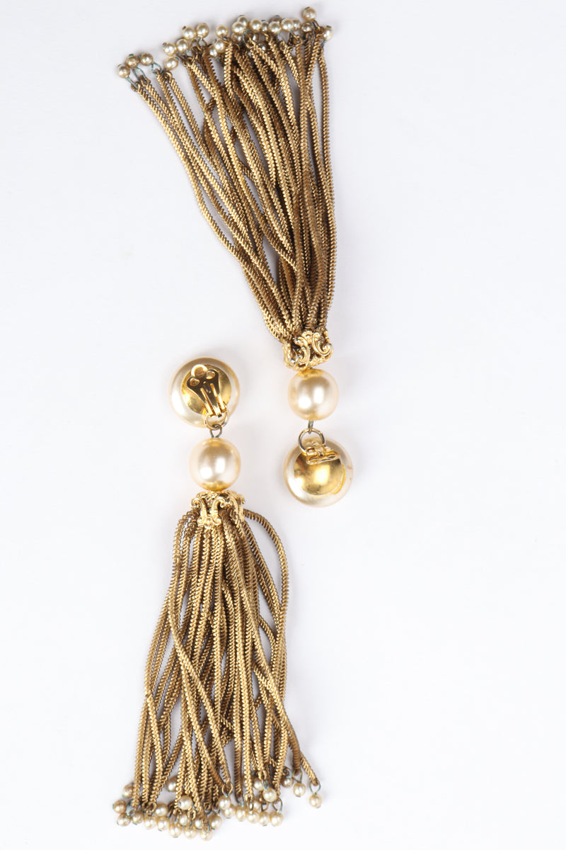 Vintage Pearl Chain Tassel Earrings backside at Recess Los Angeles