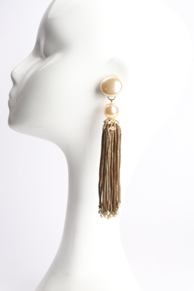 Vintage Pearl Chain Tassel Earrings on Mannequin at Recess Los Angeles