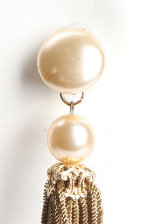 Vintage Pearl Chain Tassel Earrings wear to pearl at Recess Los Angeles