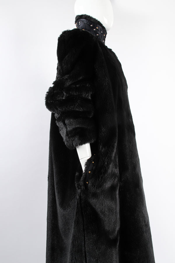 Vintage Sonia Rykiel Reversible Long Faux Fur Satin Coat on Mannequin pocket detail at Recess LA