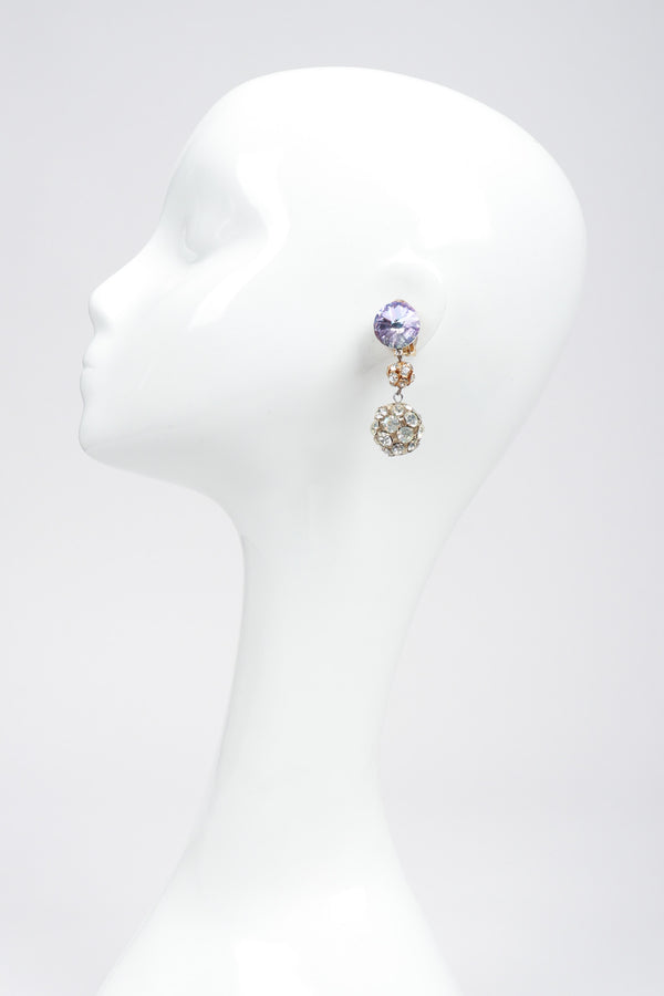 Recess Los Angeles Vintage Iridescent Rhinestone Crystal Disco Ball Drop Earrings